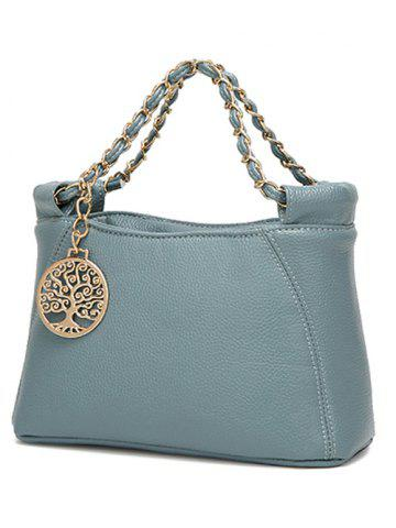 Trendy PU Leather Metal Chains Tote Bag - BLUE  Mobile