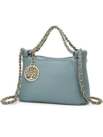 Discount PU Leather Metal Chains Tote Bag - BLUE  Mobile