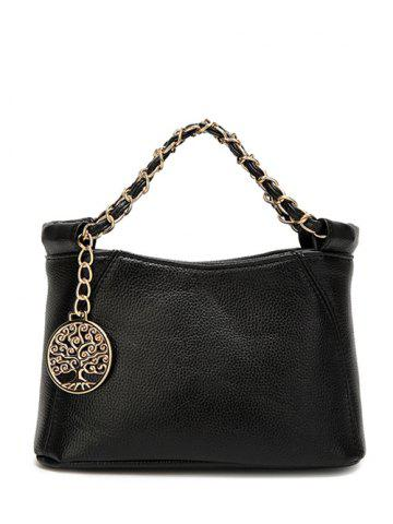 Trendy PU Leather Metal Chains Tote Bag - BLACK  Mobile