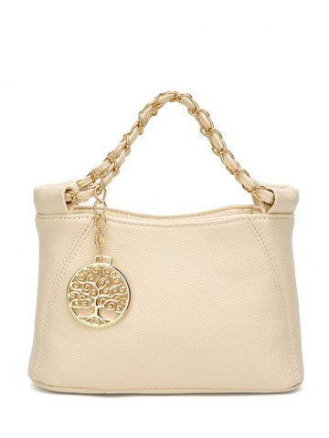 Shop PU Leather Metal Chains Tote Bag - OFF-WHITE  Mobile