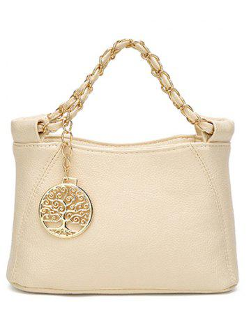 Unique PU Leather Metal Chains Tote Bag - OFF-WHITE  Mobile