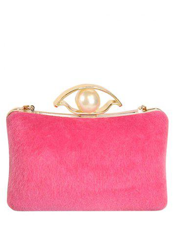 Unique Chain Faux Pearl Metal Evening Bag ROSE MADDER