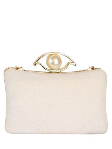 Chain Faux Pearl Metal Evening Bag - OFF WHITE