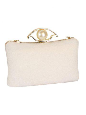 Affordable Chain Faux Pearl Metal Evening Bag - OFF-WHITE  Mobile