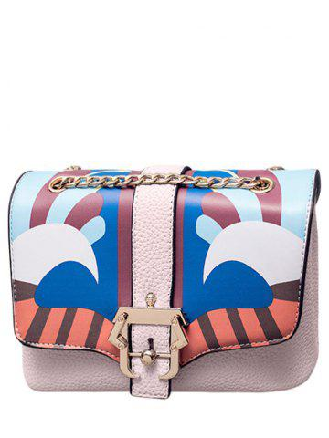 Magnetic Closure Striped Pattern Chain Crossbody Bag - Light Pink - One Size