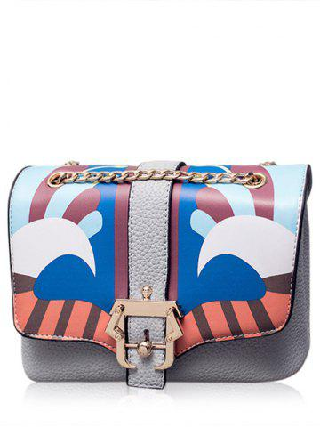 Best Magnetic Closure Striped Pattern Chain Crossbody Bag - GRAY  Mobile