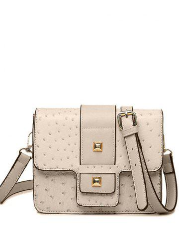 Chic Embossing Magnetic Closure Double Rivet Crossbody Bag - OFF-WHITE  Mobile