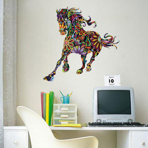 Outfit Abstract Colorful Pentium Horse Flower Pattern Removeable Wall Sticker - COLORMIX  Mobile
