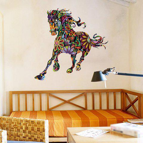 Online Abstract Colorful Pentium Horse Flower Pattern Removeable Wall Sticker - COLORMIX  Mobile