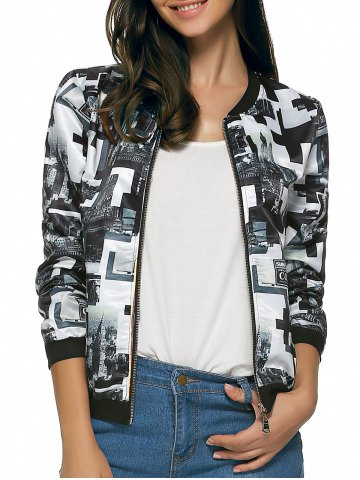 Affordable Long Sleeves Zipped Two-Tone Jacket