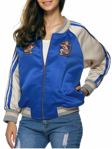 Latest Raglan Sleeves Applique Striped Jacket