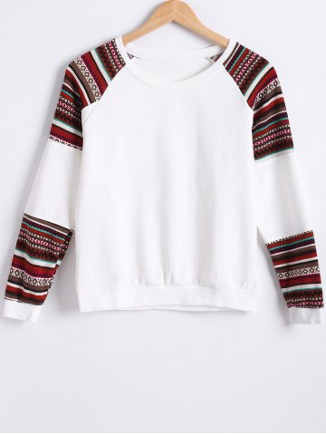 Trendy Raglan Sleeves Color Block Sweatshirt WHITE 2XL