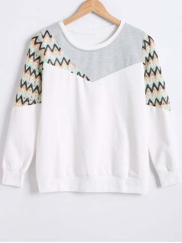 Cheap Zig Zag Hollow Out Crochet Sweatshirt