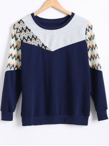 Outfits Zig Zag Hollow Out Crochet Sweatshirt DEEP BLUE 2XL