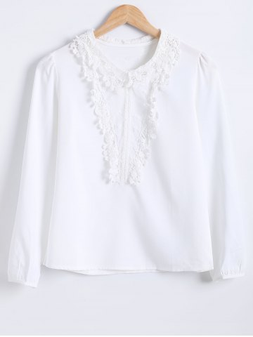 Cheap Lace Spliced Chiffon Blouse