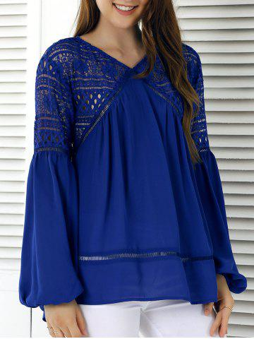 Latest Lace Splicing Lantern Sleeve Hollow Out Blouse