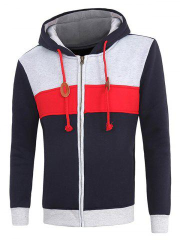 Outfit Hooded Color Block Spliced Fleece Long Sleeve Hoodie