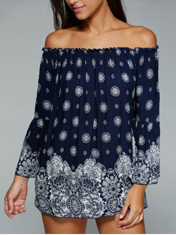 Shops Ethnic Style Off The Shoulder Tribal Print Blouse