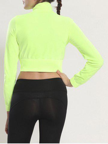 Shop Zip Up Long Sleeve Cropped Running Jacket - L FLUORESCENT YELLOW Mobile