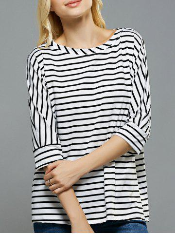 Best Loose Fitting Dolman Sleeves Striped T-Shirt