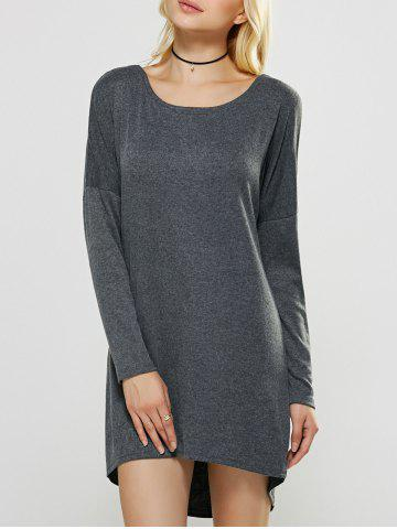 Criss-Cross High Low Backless Dress - DEEP GRAY XL