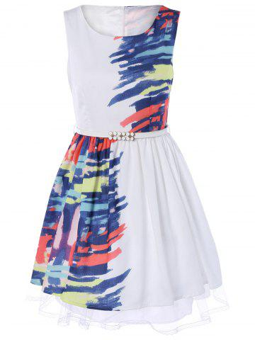 New Sleeveless Printed Belted Dress