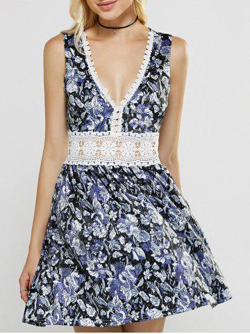 Affordable Plunging Neck Laciness Hollow Out Floral Dress