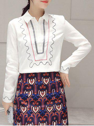 Fancy Embroidery Long Sleeve Ethnic Print Blouse