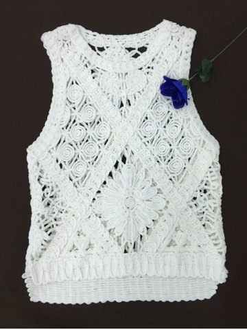 Chic Crochet Embroidery Knit Tank Top