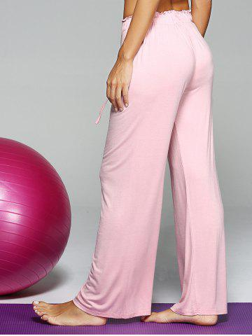 Chic Mid Waist Loose Drawstring Yoga Pants - ONE SIZE PINK Mobile