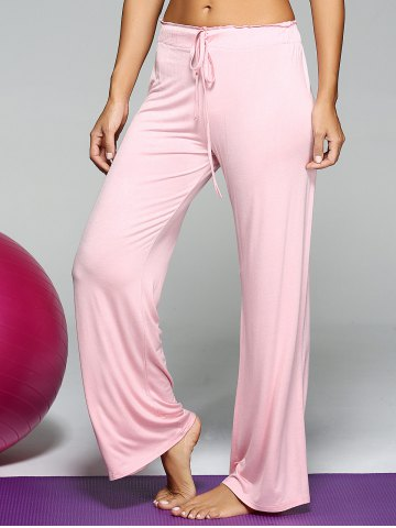 Sale Mid Waist Loose Drawstring Yoga Pants - ONE SIZE PINK Mobile