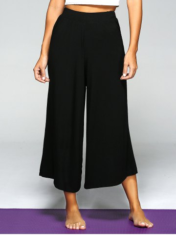 Sale High Waist Loose Wide Leg Yoga Pants - ONE SIZE BLACK Mobile