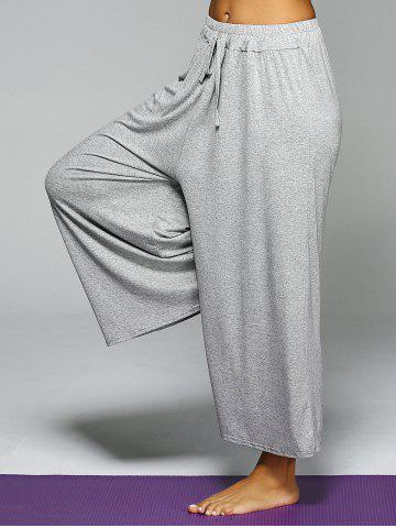 Outfits High Waist Loose Drawstring Wide Leg Yoga Pants - ONE SIZE LIGHT GRAY Mobile