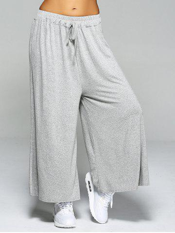 Discount High Waist Loose Drawstring Wide Leg Yoga Pants - ONE SIZE LIGHT GRAY Mobile