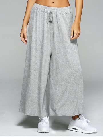 Chic High Waist Loose Drawstring Wide Leg Yoga Pants - ONE SIZE LIGHT GRAY Mobile