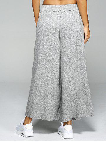 New High Waist Loose Drawstring Wide Leg Yoga Pants - ONE SIZE LIGHT GRAY Mobile