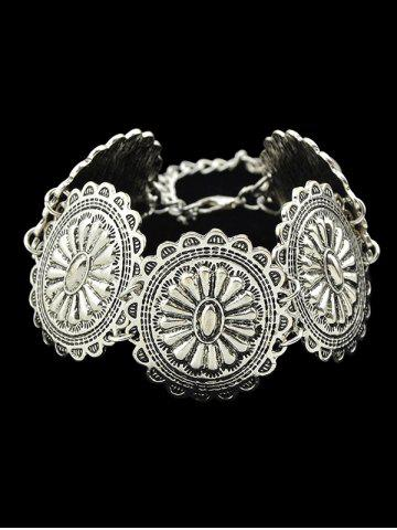 Discount Alloy Engraved Floral Pattern Bracelet