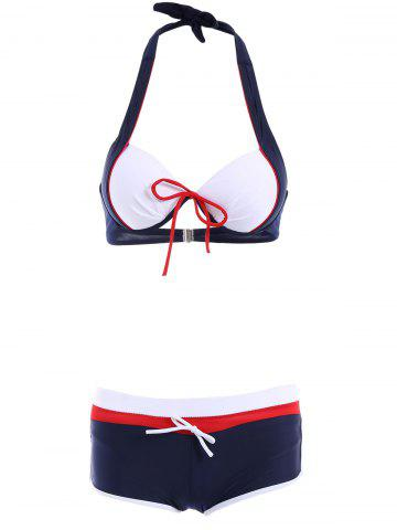 Store Spliced Three-Piece Halter Swimsuit