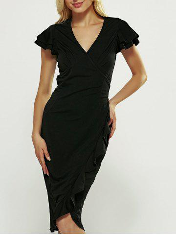 Hot V-Neck Ruffle Bodycon Wrap Dress BLACK S
