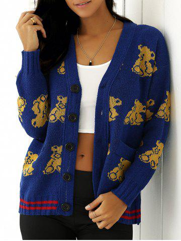 Best Bear Print Buttoned Knitted Cardigan