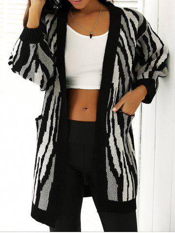 Outfits Loose-Fitting Striped Puff Sleeves Cardigan WHITE/BLACK ONE SIZE