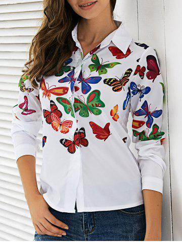 Discount Colorful Butterfly Pattern Shirt