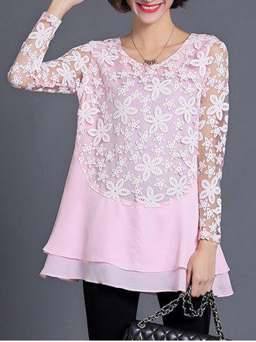Discount See Through Layered Blouse
