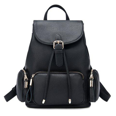 Unique Pocket Flap Drawstring Backpack BLACK