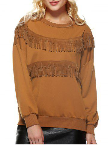 Trendy Pure Color Fringed Sweatshirt