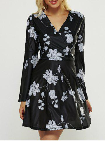 Store High Waisted Print Wrap Dress