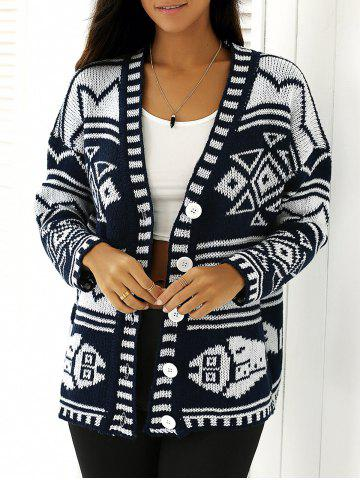 Sale Bicolor Buttoned Tribal Print Knitted Cardigan