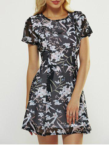 Sale Flower Print  A Line Dress