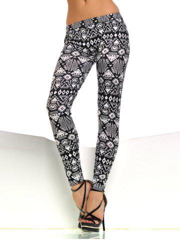 Fancy Patterned Skinny Pants WHITE AND BLACK ONE SIZE