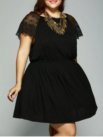 New Plus Size Lace Patchwork Tie Back Dress